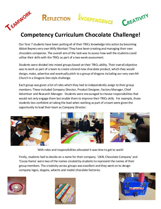 Competency curriculum chocolate challenge 1