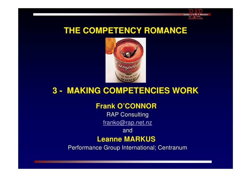 Competency romance pt3   O'Connor + Markus ~ Making competencies work - NZPsS  0608