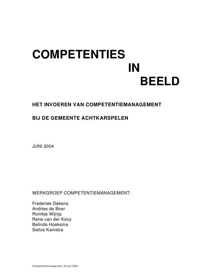 COMPETENTIES                                       IN                                         BEELD HET INVOEREN VAN COMPE...