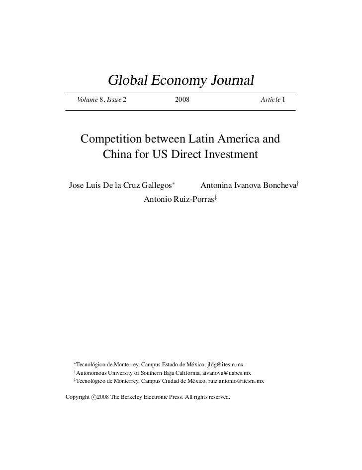 Global Economy Journal       Volume 8, Issue 2                     2008                            Article 1        Compet...
