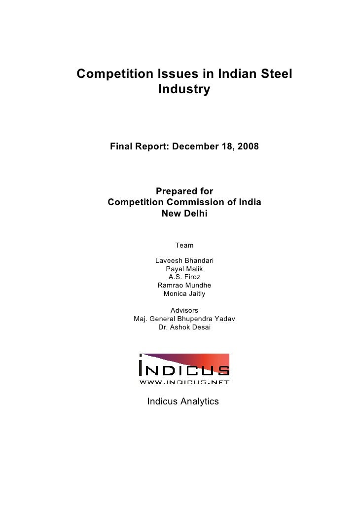 Competition Issues in Indian Steel             Industry         Final Report: December 18, 2008                  Prepared ...