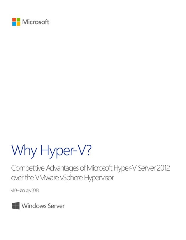 Why Hyper-V? CompetitiveAdvantagesofMicrosoftHyper-VServer2012 overtheVMwarevSphereHypervisor v1.0–January2013