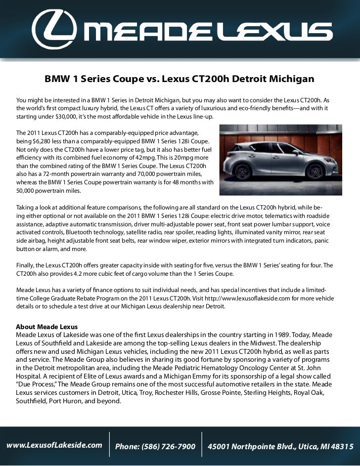 BMW 1 Series Coupe vs. Lexus CT200h Detroit Michigan  You might be interested in a BMW 1 Series in Detroit Michigan, but y...