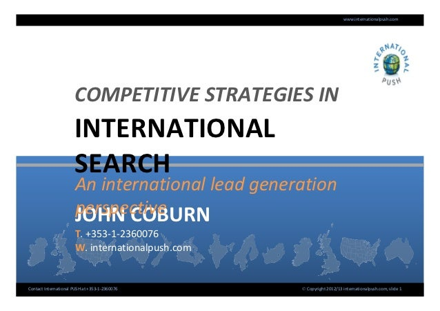 Competitive Strategies in International Search | John Coburn | International Push |