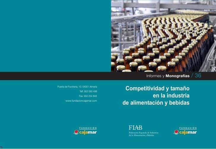 Competitividad y tamaño    en la industria   de alimentación       y bebidas
