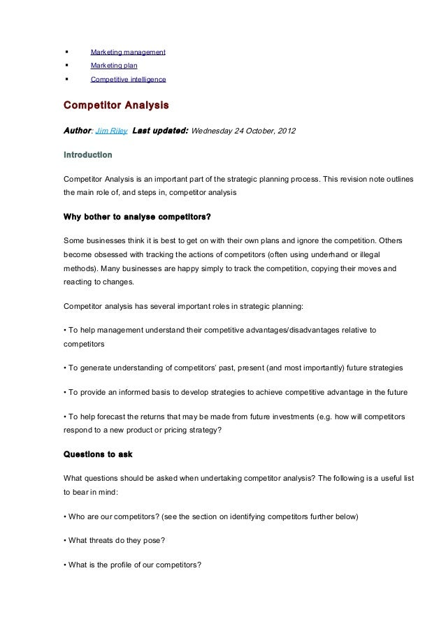 Competitor analysis marketing plan