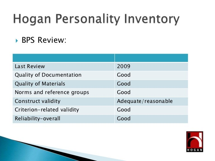 Hogan Personality Inventory Test