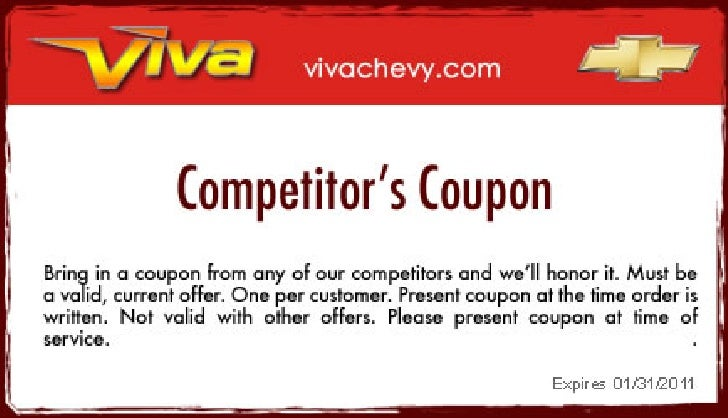 Competitor's Coupon in Viva Chevy Texas