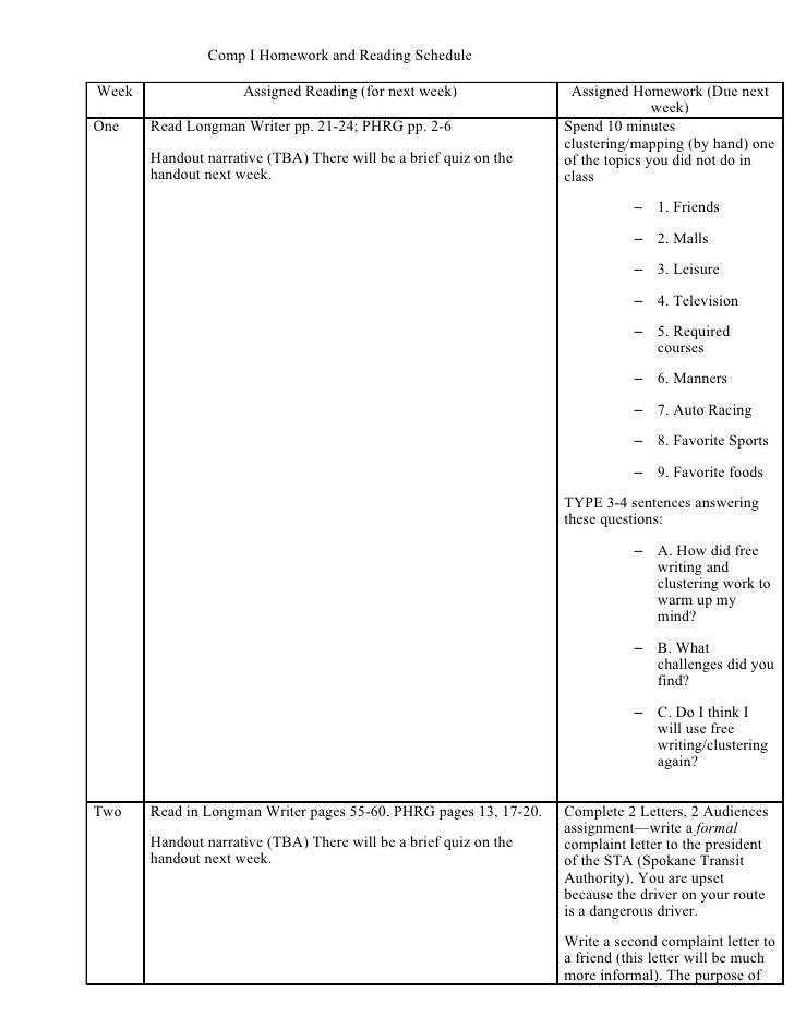 Comp I Homework and Reading Schedule  Week                 Assigned Reading (for next week)               Assigned Homewor...