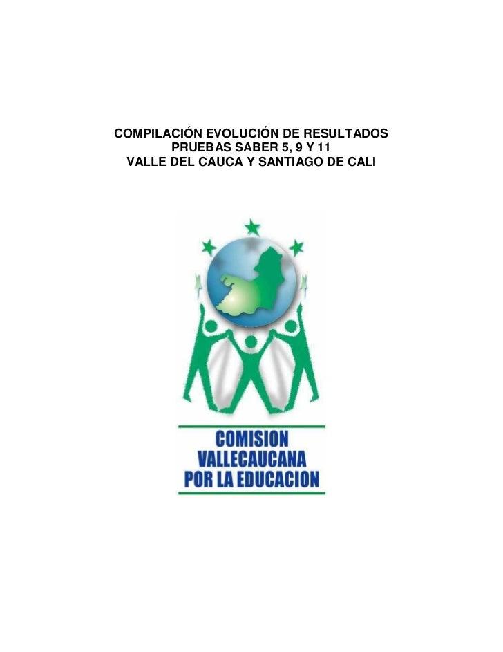 COMPILACIÓN EVOLUCIÓN DE RESULTADOS       PRUEBAS SABER 5, 9 Y 11 VALLE DEL CAUCA Y SANTIAGO DE CALI