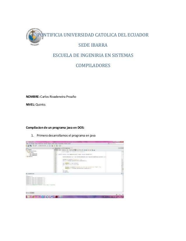 PONTIFICIA UNIVERSIDAD CATOLICA DEL ECUADOR                                    SEDE IBARRA                 ESCUELA DE INGE...