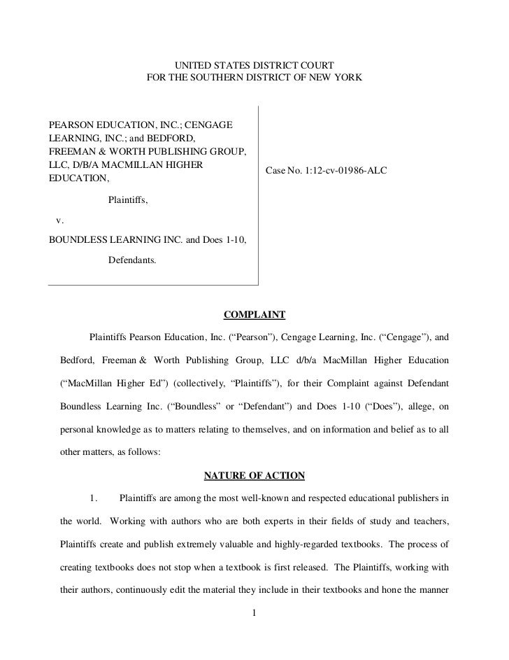UNITED STATES DISTRICT COURT                        FOR THE SOUTHERN DISTRICT OF NEW YORKPEARSON EDUCATION, INC.; CENGAGEL...