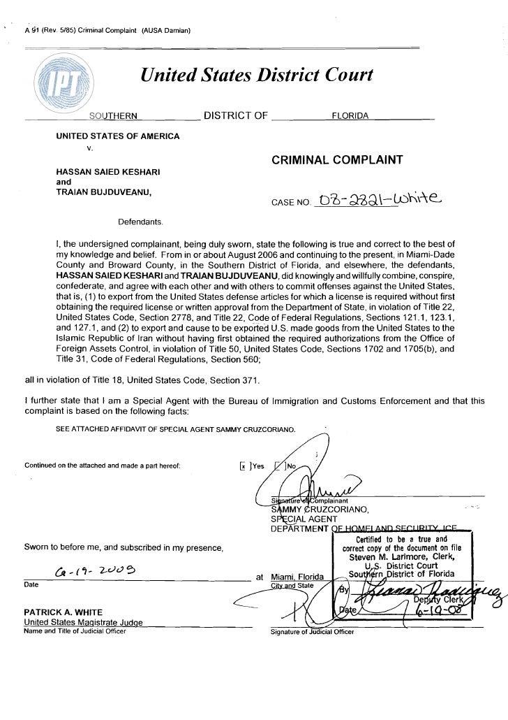 A 91 (Rev. 5/85) Criminal Complaint (AUSA Damian)                                         United States District Court    ...