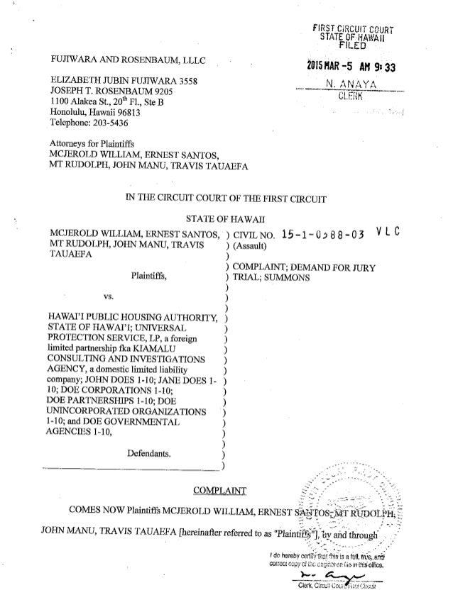Complaint Against Hawaii Public Housing Authority