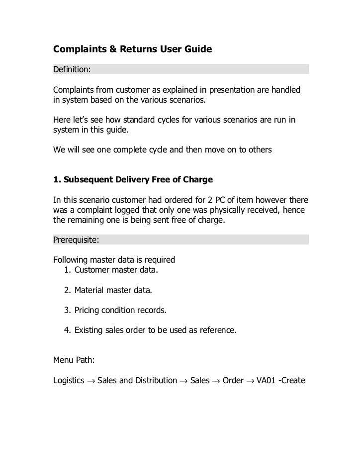 Complaints & returns user guide