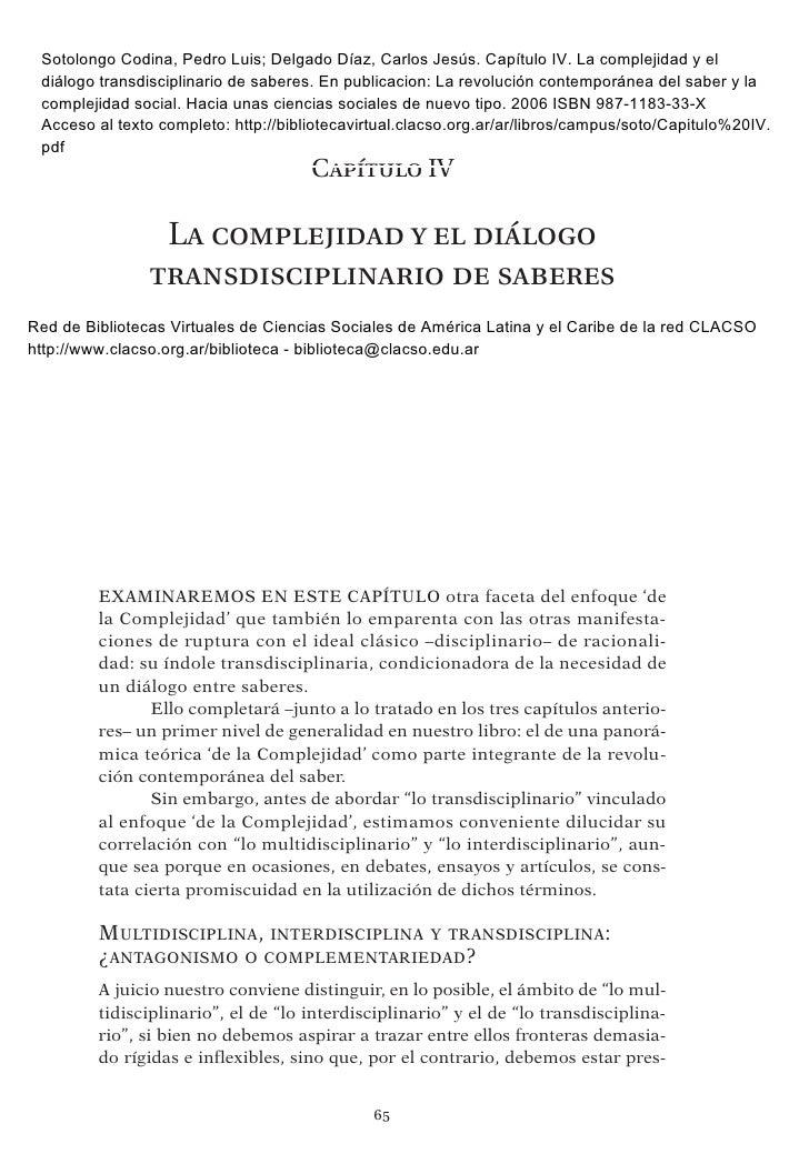 Sotolongo Codina, Pedro Luis; Delgado Díaz, Carlos Jesús. Capítulo IV. La complejidad y el diálogo transdisciplinario de s...