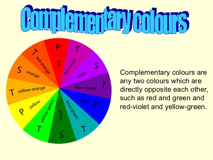 Complementary colours Complementary colours are any two colours which are directly opposite each other, such as red and gr...