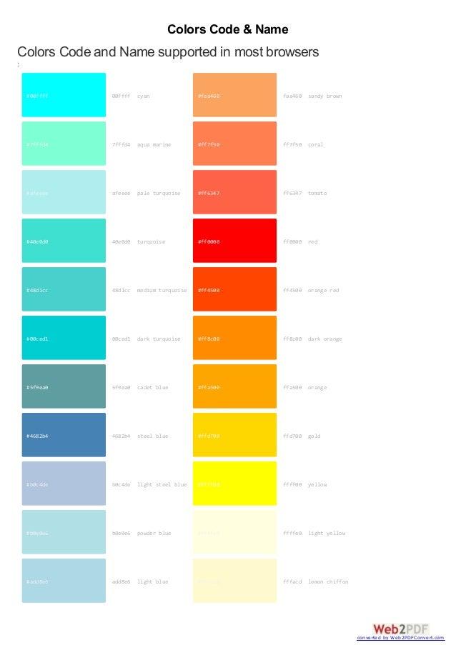 Complete websafe-colors-code