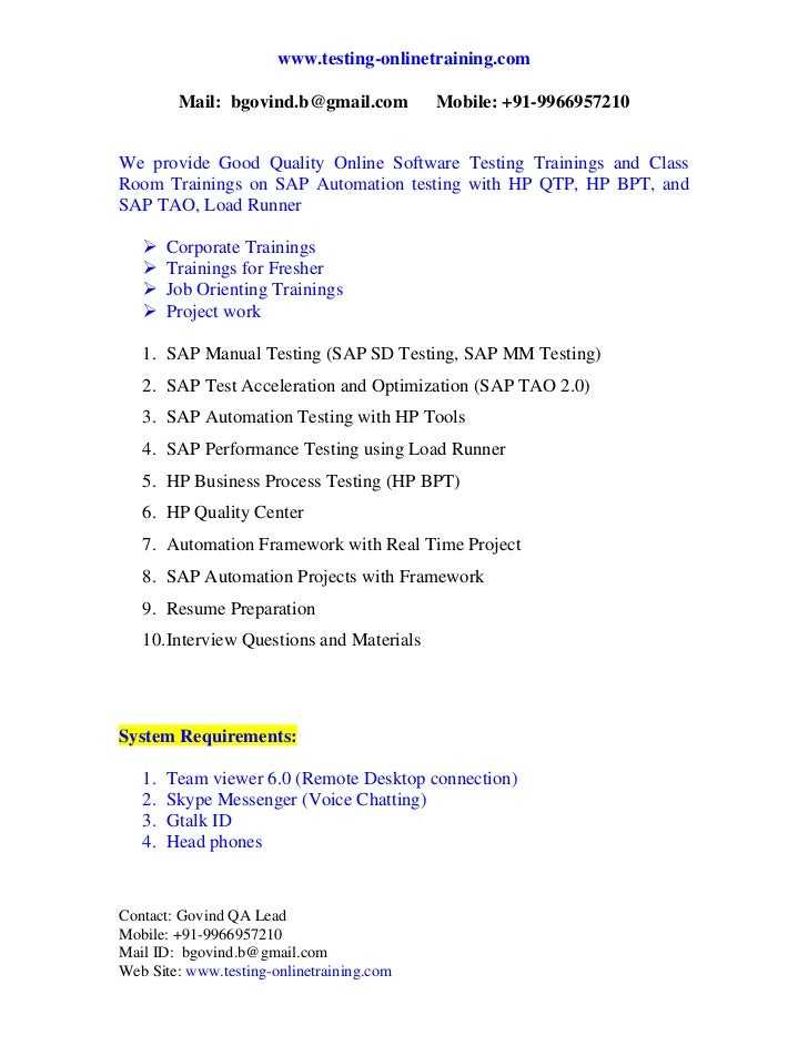 sap automation testing resume 28 images software