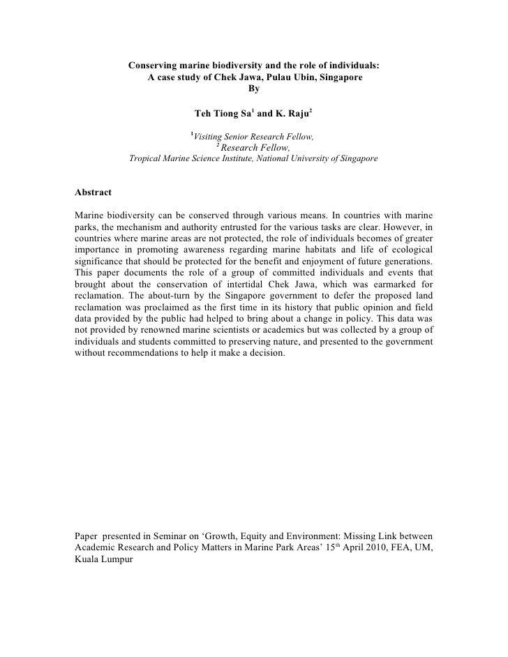 Conserving marine biodiversity and the role of individuals:                 A case study of Chek Jawa, Pulau Ubin, Singapo...