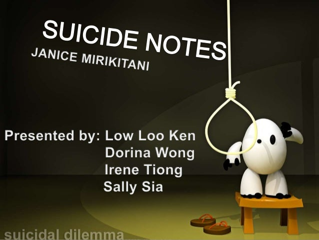 "an analysis of suicide note a poem by janice mirikitani Overview the poem, ""suicide note"", by janice mirikitani is about a young asian- american female college student who commits suicide by jumping out of her dormit."