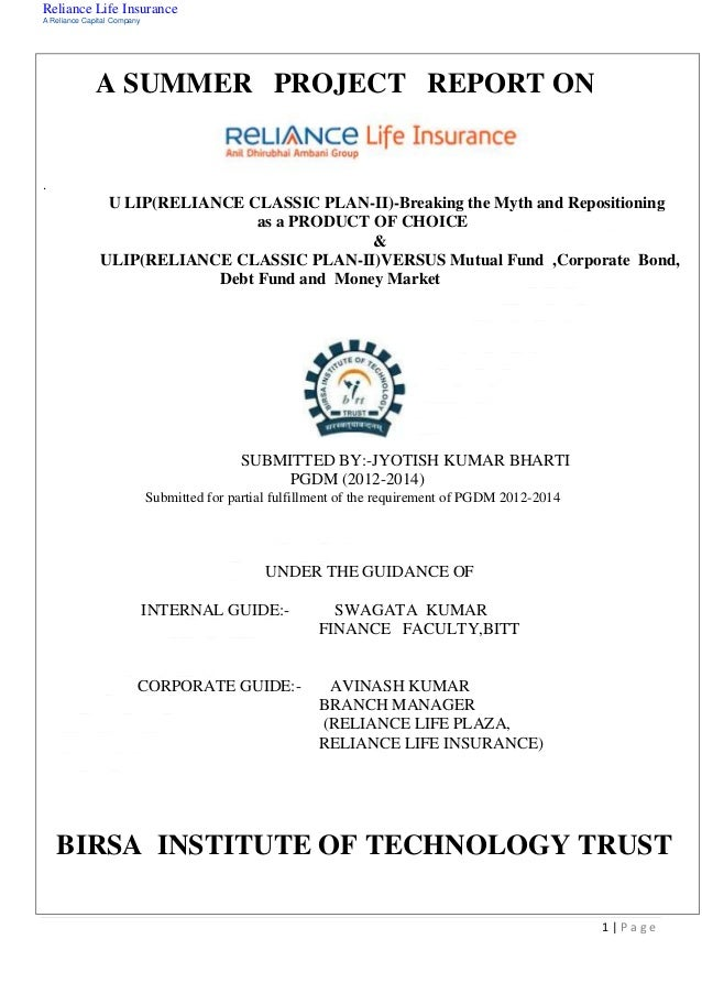 summer traning project report on hdfc standard life insurance The report of the summer training mba finance research project on hdfc insurance as i need it to submit it in your college is as follows: title: finance project report on customer buying behavior for hdfc standard life insurance.