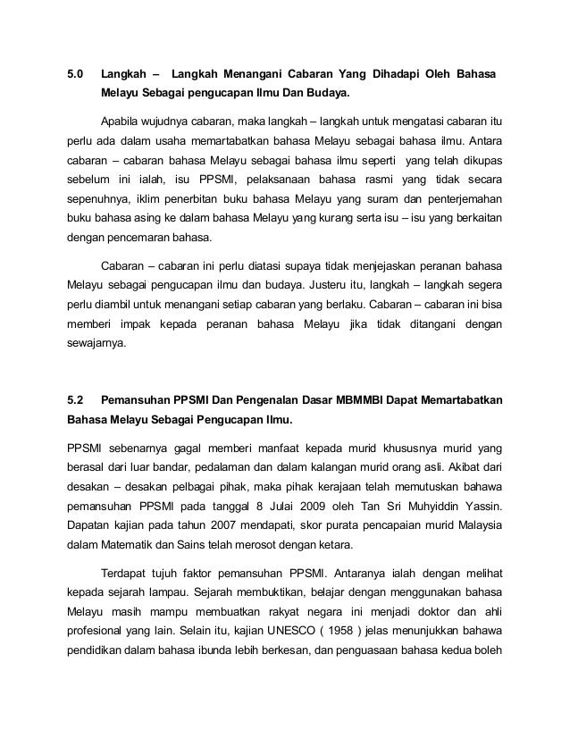 Usaha Usaha Untuk Memartabatkan Bahasa Melayu