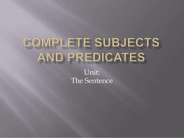 Unit: The Sentence