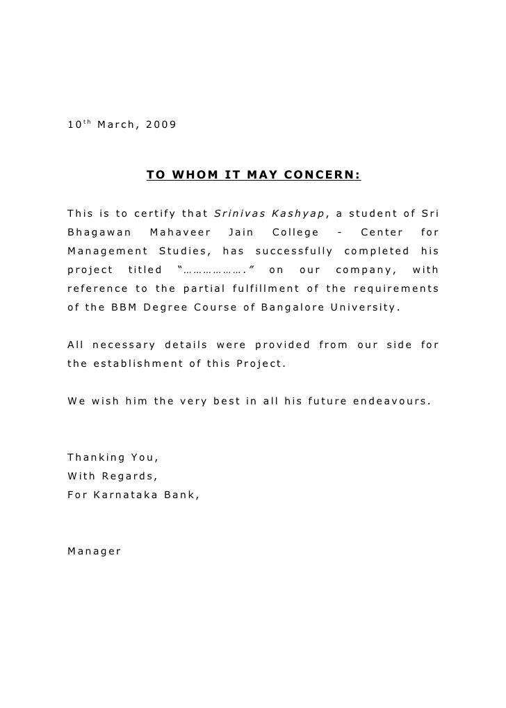 10th March, 2009                 TO WHOM IT MAY CONCERN:   This is to certify that Srinivas Kashyap, a student of Sri Bhag...