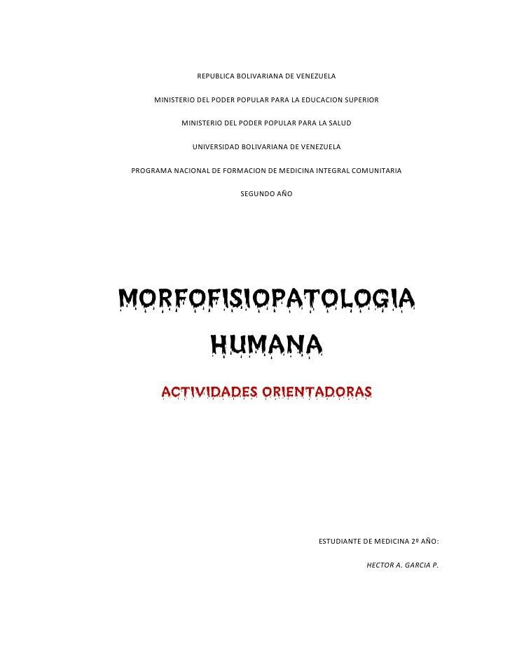 Morfofisiopatología Humana I (Actividades Orientadoras)