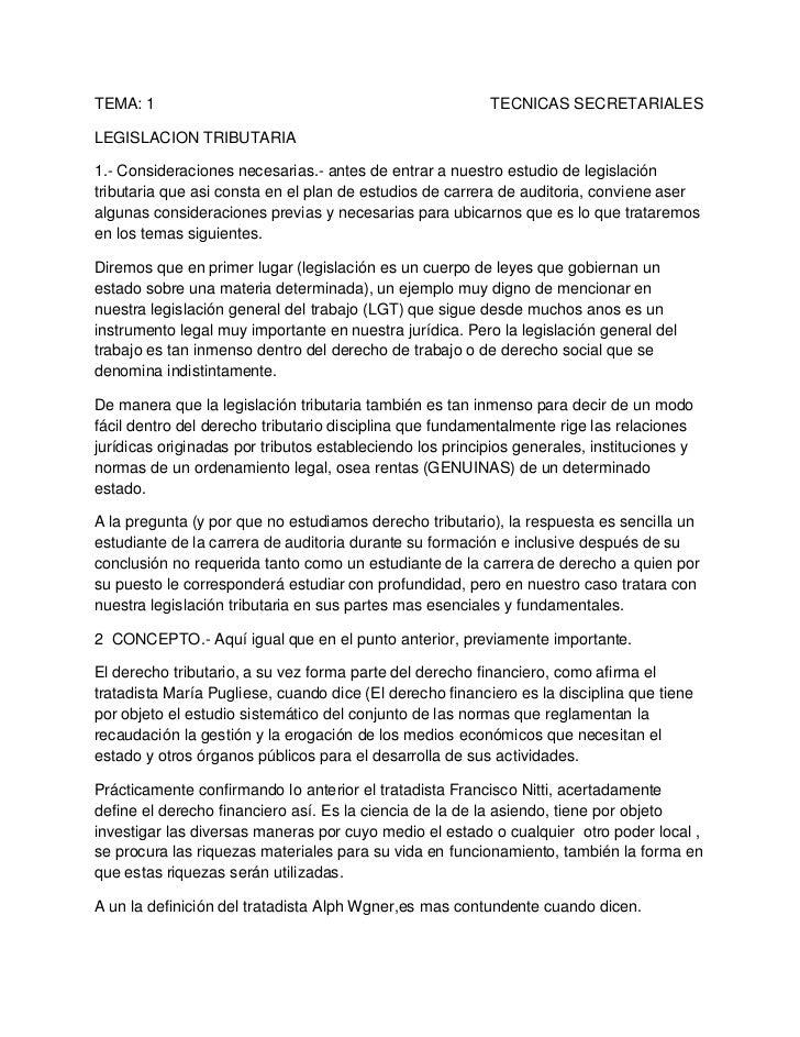 TEMA: 1                                                                             TECNICAS SECRETARIALES<br />LEGISLACIO...