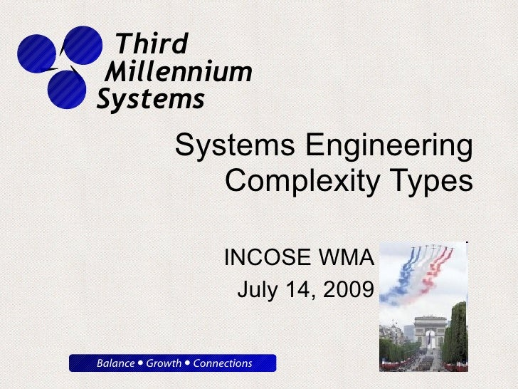 Systems Engineering Complexity Types INCOSE WMA July 14, 2009