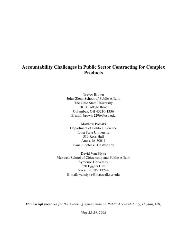 Accountability Challenges in Public Sector Contracting for Complex                             Products                   ...
