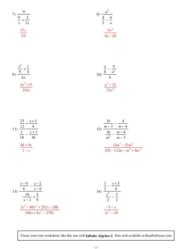 8th Grade Math Worksheets Kuta – Algebra Fraction Worksheets