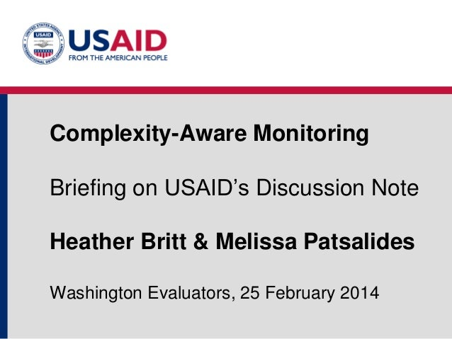 Complexity-Aware Monitoring: Briefing on USAID's New Discussion Note