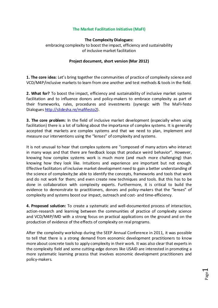 The Market Facilitation Initiative (MaFI)                               The Complexity Dialogues:           embracing comp...