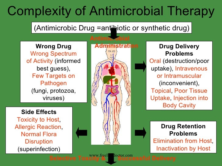 Complexity of Antimicrobial Therapy (Antimicrobic Drug =antibiotic or synthetic drug) www.freelivedoctor.com Drug Delivery...