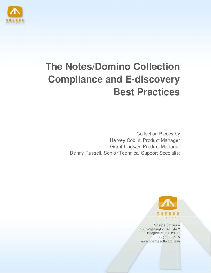 The Not Domino C      e   tes/D       Collec n                           ction    Coompli          iance and E-d over...