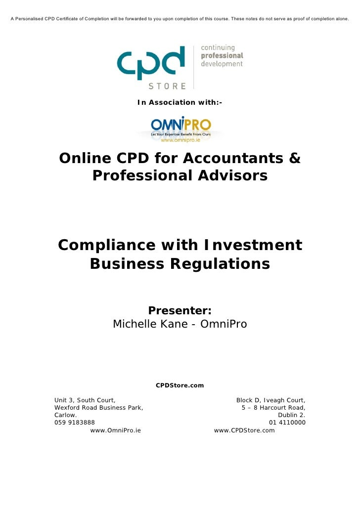 Compliance with Investment Business Regulations