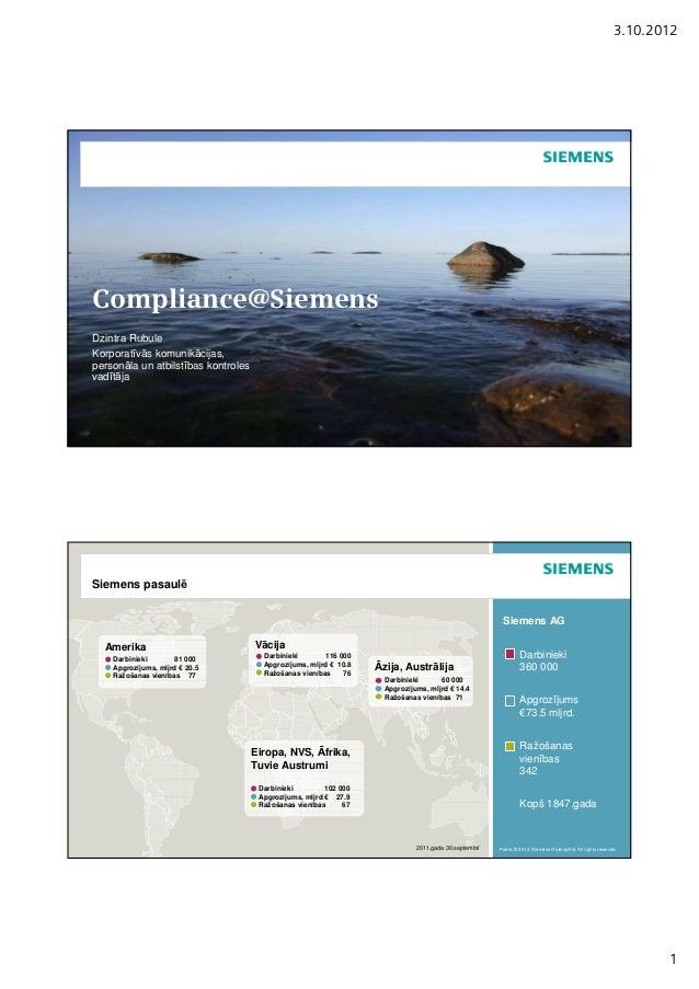 3.10.2012Compliance@SiemensDzintra RubuleKorporatīvās komunikācijas,personāla un atbilstības kontrolesvadītājaSiemens pasa...