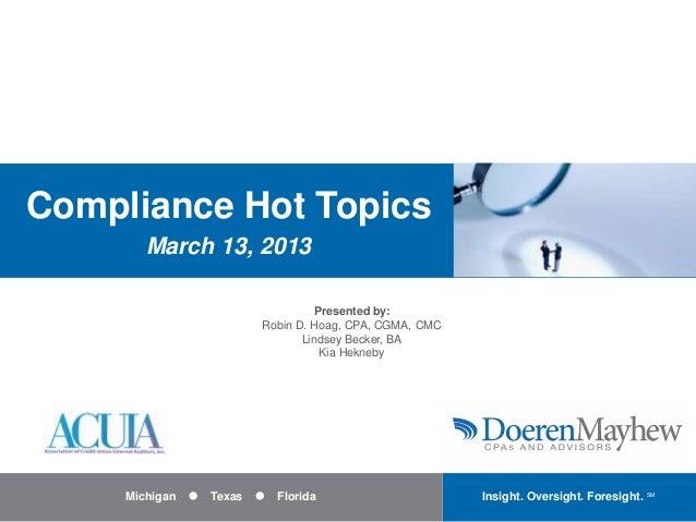 Credit Union Compliance Hot Topics