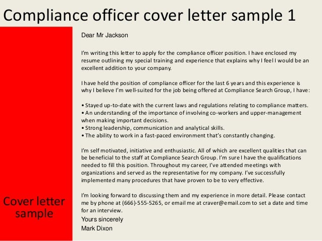 Compliance officer cover letter - Qualifications for compliance officer ...