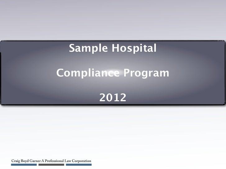 Sample Hospital Compliance Program