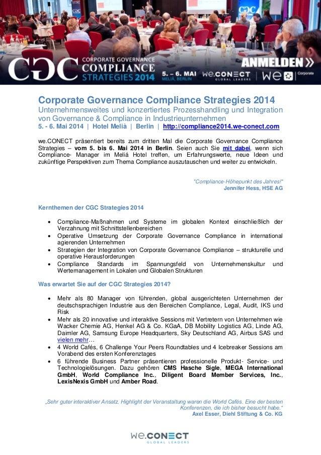 Corporate Governance Compliance Strategies 2014 Konferenz in Berlin