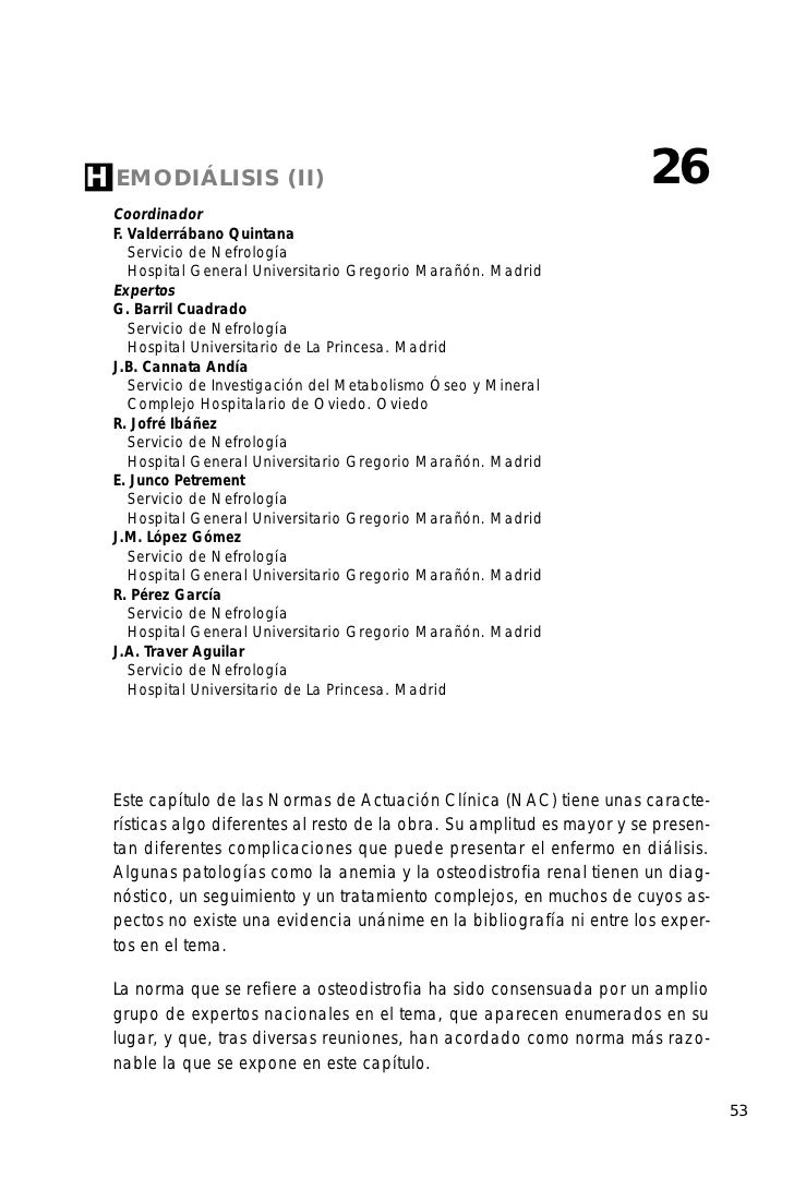 H EMODIÁLISIS           (II)                                            26  Coordinador  F. Valderrábano Quintana     Serv...