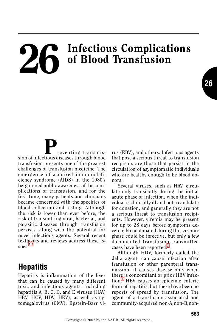 Taller Banco de Sangre - Complicaciones infecciosas