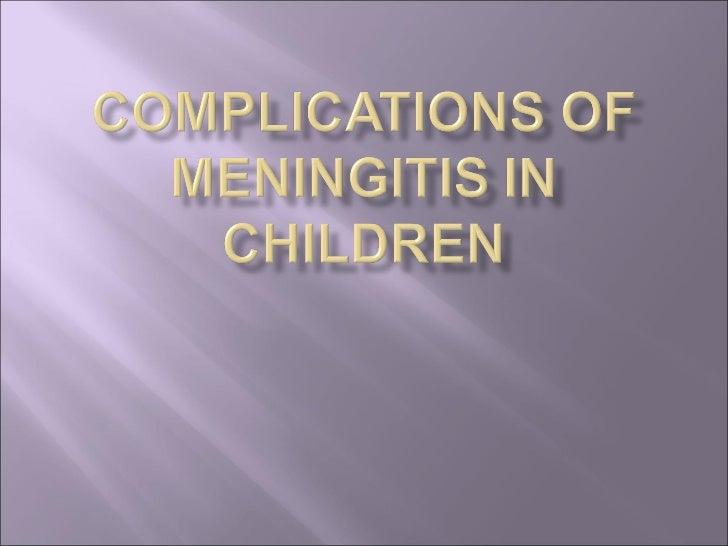 Complications of meningitis in children