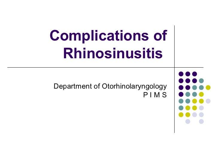 Complications of rhinosonusitis