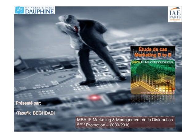 MBA-IP Marketing & Management de la Distribution 5ème Promotion – 2009/2010