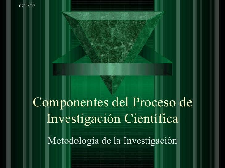 Componentes del Proceso de Investigación Científica Metodología de la Investigación